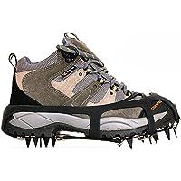 Kottle Crampones universales 18 dientes acero hielo Grips antideslizante nieve y hielo tracción tacos zapato cadenas seguro protegen zapatos (Negro, L 40-44)