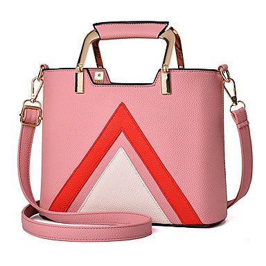 Damenmode Spleißen PU Leder Messenger Umhängetaschen Handtaschen/Klt Blushing Pink