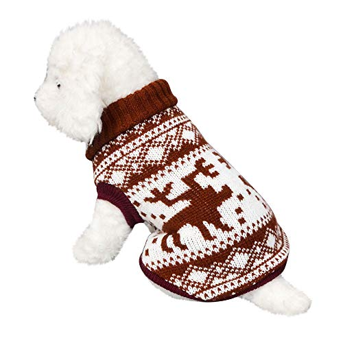 üm - Haustier Hund Rollkragen, Haustier Hund Katze Winter Warm Rollkragenpullover Mantel Kostüm Bekleidung(Kaffee,XS) ()