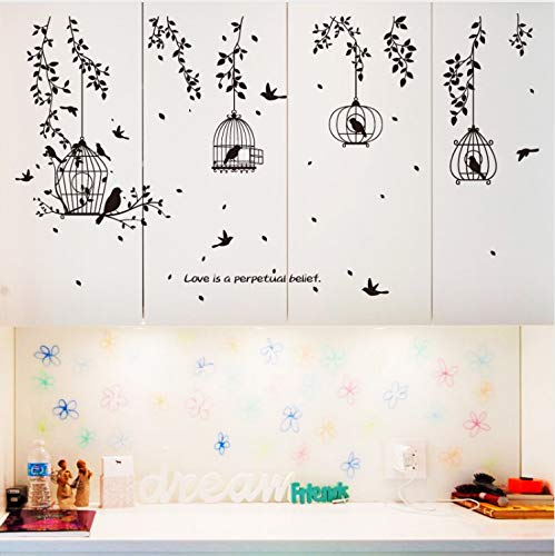 HWJ Wall Stickers for Baby Rooms Black Birdcage Leaves Silhouette Flying Birds for Kitchen Dining Room Wallpaper Murals Decals -