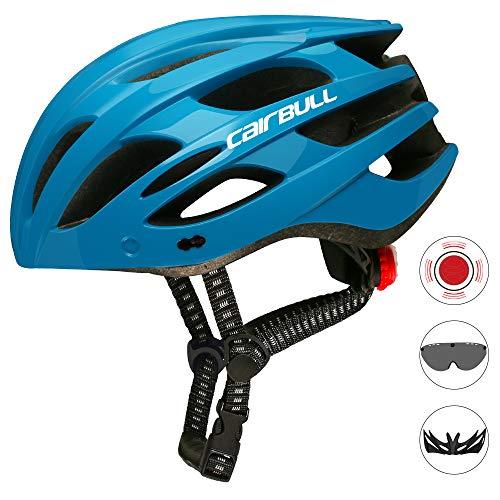 Cairbull Mann/Frauen Fahrradhelm Erwachsene Rennrad Mountainbike Helm ausgestattet mit LED-Licht/Sonnenbrille Visier/Krempe