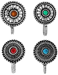 Anuradha Art Silver Oxidised Tone Classy Designer Multi Colour Press On Nose Ring/Nose Stud/Pin for Women/Girls