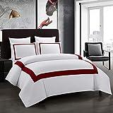 OSVINO Set Bettwäsche Microfaser Bettbezug Kissenbezug Öko-Tex elegant einfach für Hotel, Weinrot 1 x Bettbezug (200 x 200cm) + 2 x Kissenbezug (50 x 75cm)