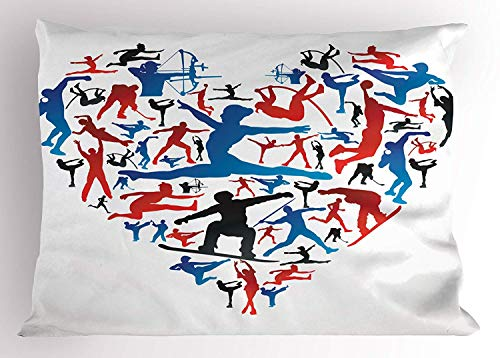 Ytavv Olympics Pillow Sham, Action Sports Silhouettes Heart Love Shape Archery Handball High Jump Skating, Decorative Standard Queen Size Printed Pillowcase, 30 X 20 inches, Red Blue Black