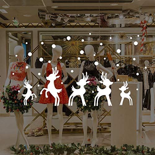 White Christmas Wall Sticker [ 6 Styles Optional ], Merry Christmas Removable Self-Adhesive Sticker for Shop Home Wall Window Xmas Decorations 1 Piece