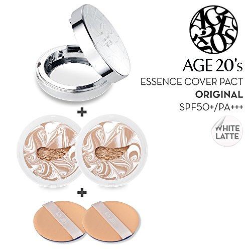 Fondotinta Premium Compatto Age 20's, + 1 Refill Extra – Confezione Bianco Latte SPF50+ (Realizzato in Corea) – Colore n. 25 – Bianco/ Beige Profondo Latte