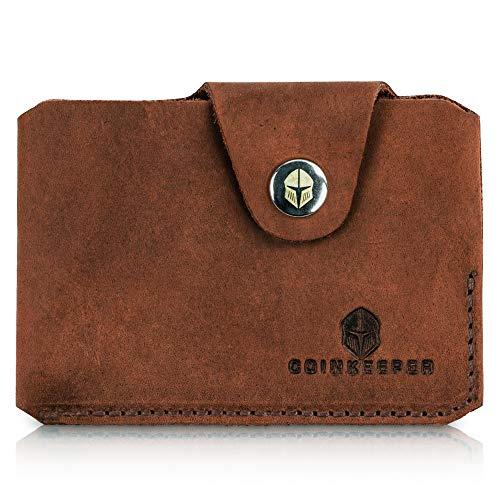 CoinKeeper® Mini Geldbeutel aus exklusiv Echt-Leder - Geldbörse Herren klein mit Münzfach - Schlankes Slim Wallet für Männer - Mini Wallet für Herren -