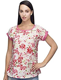 146bbaf6882 indietoga Designer White and Pink Floral Printed Crepe Casual Tops for Girls