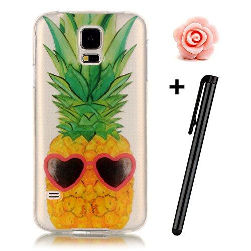 Preisvergleich Produktbild Samsung Galaxy S5 Hülle,Samsung Galaxy S5 Case,TOYYM TPU Hülle Schutzhülle Crystal Case Silikon Transparent Hülle Cool Pineapple Muster Anti-Kratz Zurück Case Cover für Samsung Galaxy S5