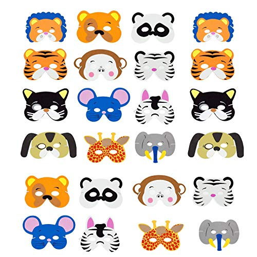 INTVN Tiermasken, Eva Animal Masks Kindermasken Schaumstoff Masken für Halloween Weihnachten Kostüm Requisiten Dress-Up Party Zubehör, 24 Stück