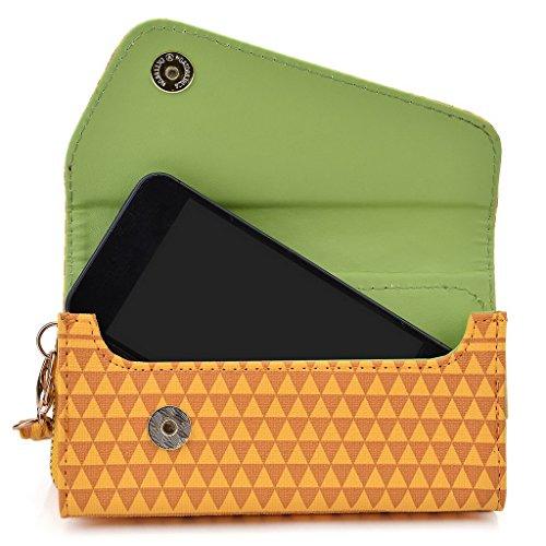 Kroo Pochette/étui style tribal urbain pour Prestigio MultiPhone 4505Duo White with Mint Blue jaune