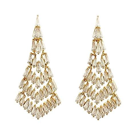 SELOVO Gold-Ton Triangle Art Deco Tropfen Chandeliar Ohrringe Baumeln hängend