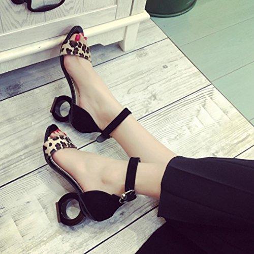 DM&Y 2017 Dickes hochhackigen Profil Pers?nlichkeit mit bereift mit dem Wort sexy offene Spitze Schuhe Sandalen Black
