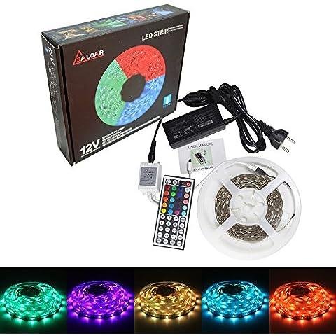 Salcar 5m de Cinta LED Tira RGB con 150 LEDs (SMD5050), 20 mezclas de colores elegibles, incluye un control remoto infrarrojo de 44 botones, Controlador y un adaptador de 12V