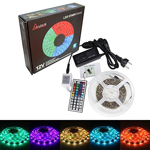 Salcar 5m RGB LED Strip mit 150 LEDs (SMD5050), 20 Farben auswählbar, inkl. 44 Tasten IR-Fernbedienung( Neu Version:24 Tasten ), Controller und 12V 36W Netzteil