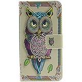 Para LG G3 Stylus D690N / LG D690 Flip Funda Carcasa, Ougger(TM) Lindo Owl [Serie Pintado] Durable PU Cuero Billetera Tapa Cards Magnética Stand Piel Bolsa Protector