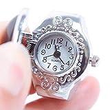 Febelle Damen Kreative Edelstahl Edelstein Elastic Quarz Damen Finger Ring Uhr Chic