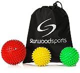 Igelball / Massageball mit Noppen für Tiefenmassage von Verspannungen und Triggerpunkten (10 cm sehr harter Igelball, 7 cm mittelharter Igelball, 7 cm sehr harter Igelball + Tragetasche)
