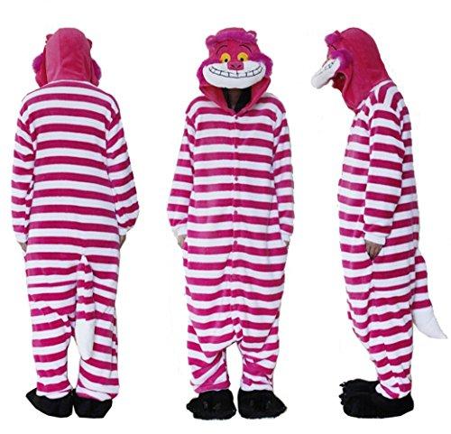Kostüm Flanell - Pyjama, Einteiler, Polar-Fleece, Flanell, unisex, Grinsekatze, Cosplay-Kostüm, Schlafanzug, Nachtwäsche, Tierpyjama, Overall, auch für draußen geeignet