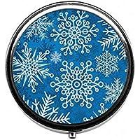 LinJxLee Christmas Snowflakes Round Pill Case Pill Box Tablet Vitamin Organizer Easy to Carry preisvergleich bei billige-tabletten.eu