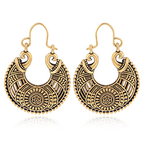 Tiaraz Chandbali Earrings for women traditional (Gold 1)