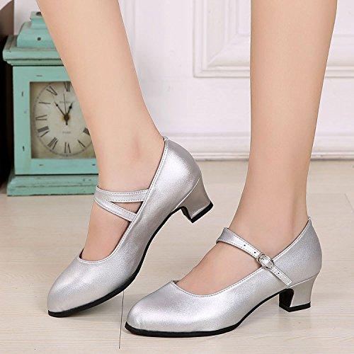 DGSA Square Dance Shoe_Square Dance Schuhe mit weichen, Latin Dance Schuh Frauen begegnen zu modernen Leder 3 Stunden mit Silber outdoor Gummi