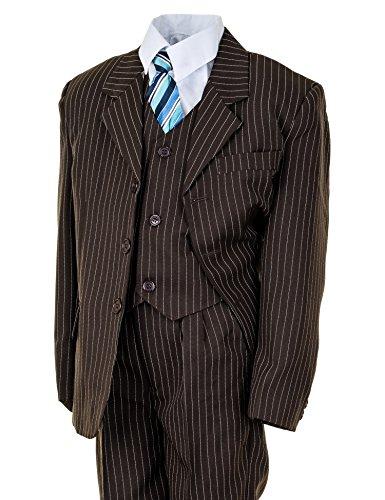 Festlicher 5tlg. Jungen Anzug in vielen Farben mit Hose, Hemd, Weste, Krawatte und Jacke M313Nbn Braun Nadelstreifen Gr. 1 / 92 / 98