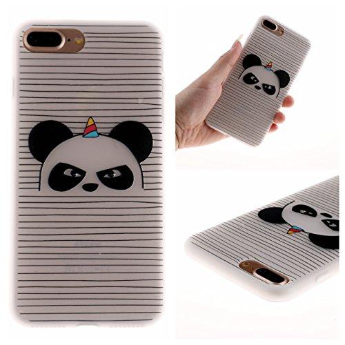 iPhone 7 Plus/iPhone 8 Plus Coque, Voguecase TPU avec Absorption de Choc, Etui Silicone Souple Transparent, Légère / Ajustement Parfait Coque Shell Housse Cover pour Apple iPhone 7 Plus/iPhone 8 Plus  Panda en colère