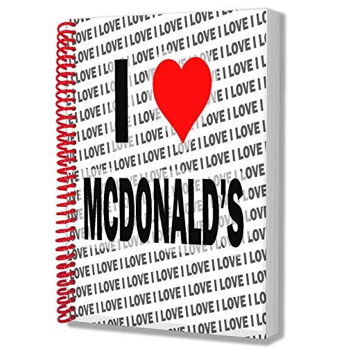 I Love McDonalds Geschenk – A5 Notizbuch – Notizblock – Geburtstag – Weihnachten – Geschenk