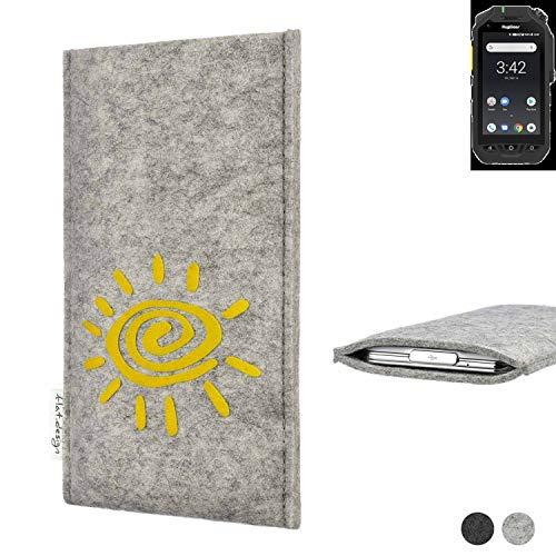 flat.design Handy Hülle für Ruggear RG725 FARO mit Sonne Filz Schutz Tasche Etui Made in Germany fair