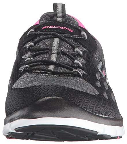 Skechers Sport Women's Gratis Bungee Fashion Sneaker Black/Pink/White