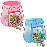 KIDUKU Tienda de campaña infantil + 100 bolas + bolsa casita de tela para jugar piscina de bolas castillo para interior y exterior (Rosa)
