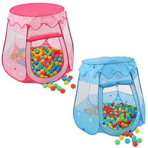 Kiduku® tenda da gioco per bambini pop up + 100 palline + borsa per interni ed esternim (rosa)