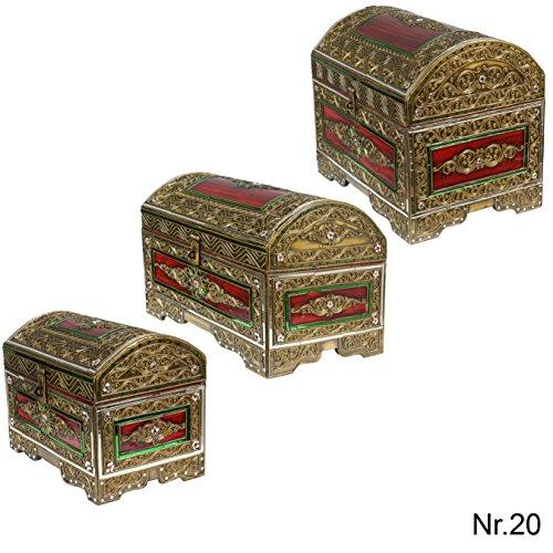 Runddeckeltruhe Kiste Schatzkiste Truhe Schatztruhe Box Piraten Prinzessinnen Chest ca. 45 cm Holz Spiegelstein Bunt Gold Rot Grün groß Nr. 20
