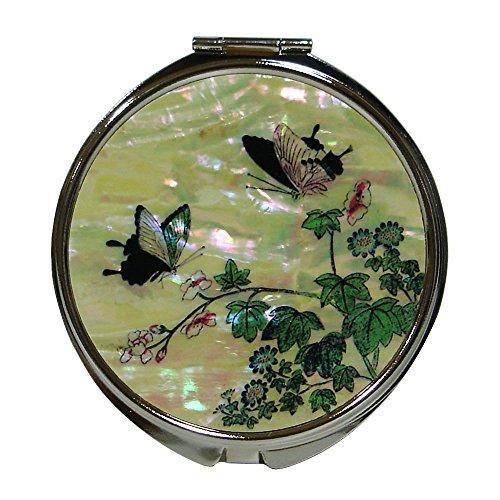 Mère de perle papillon fleur ronde Loupe Poche Porte-monnaie Maquillage Compact Double Sac à Main Miroir
