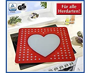 Wenko 2511917500 protective glass, CAN be used as A protective hob cover plate, Heart Wall decoration: 50 x 1, 8-4,5 x 56 CM by Wenko