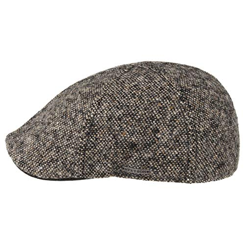 Stetson Mütze Schirmmütze Texas Donegal Flatcap für Herren Gatsby Cap mit Schirm, Futter Winter (XL (60-61 cm) - schwarz)