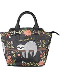 ALAZA Women's Follow Your Dream Sloth Quote Rivet PU Leather Tote Bag Shoulder Bag Purse