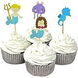 48 Pcs TKOnline Mermaid Cupcake Picks Kids Party Decoration Paper Cupcake Toppers, Cupcake Toppers Food Fruit...