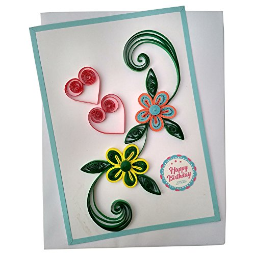 Varsha Creations Handmade Quilled Happy Birthday Greeting Card - Colourful Flowers | Best Gift for Friends and Family Members, 21x15 Cm  available at amazon for Rs.285