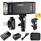 Godox AD200Pro TTL 2.4G HSS 1 / 8000s Taschenblitzleuchte Doppelkopf 200Ws mit 14,4 V / 2900 mAh Lithium-Batterie kompatibel für Nikon Canon Sony Fuji Olympus Panasonic Pentax Kamera