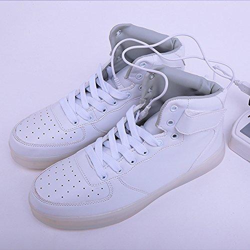 DoGeek uomo Scarpe Led Luminosi Sneakers Con Le Luci Accendono Scarpe Sportive White