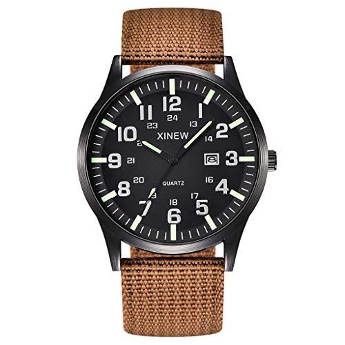Herren Uhren,Pottoa Leinwand Kalenderuhr Mode Klassisch Lederband Analoge Armbanduhr Unisex Damenuhren Herren-Armbanduhr Kunstleder Herren Quartz