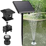 Coocheer Solar Teichpumpe 3 Watt Solarmodul 180 l/h Förderleistung mit Akku und LED Beleuchtung Komplettset Gartenteich, Maximale Förderhöhe: 175 cm
