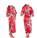 Women's Robes Peacock and Blossoms Kimono Satin Nightwear Long Style UK Stock (3XL, Red)