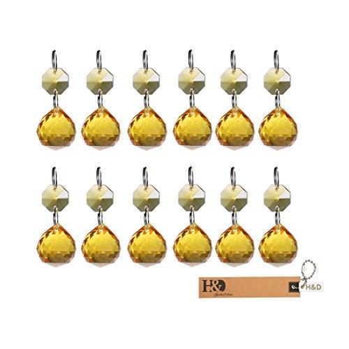 H&D 20 mm Kristall Kugel Prismen Kronleuchter Drop Anhänger Lampe Kandelaber Teile, 10 Stück, Gelb -