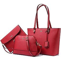 Sac a Main Femme Sac Bandouliere Sac élégant en PU Cuir Sacs Fourre-Tout Sacs Portés Main de 3 pièces - C-Vin rouge