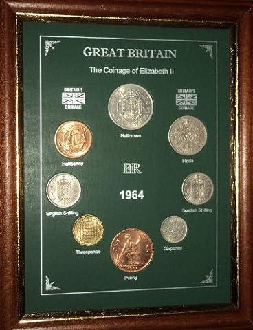Framed 1964 GB Great Britain British Coin Birth Year Vintage Retro Gift Set (53rd Birthday Present or Wedding Anniversary)
