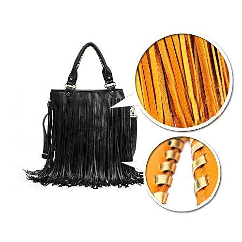 BOZEVON Damen Umhängetasche Schultertasche Troddel Tasche Handtasche Beutel PU Leder mit Reissverschluss - Schwarz Schwarz
