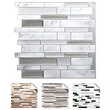 4er Set 3D Mosaik Fliesenaufkleber selbstklebend Küch Bad Fliesendekor I 27 x 25,4 cm grau marmor silber dunkelgrau metallic I Design 4 Grandora W5534